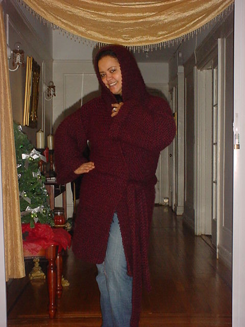 Hand Knit Hooded Big Coat