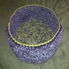 crochet pet bed purple and gold