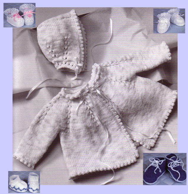 Hand Knit Baby Sweater and Crochet Baby Booties