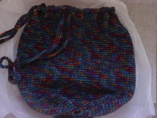 Multi Color Hand Crochet Tubular Tote