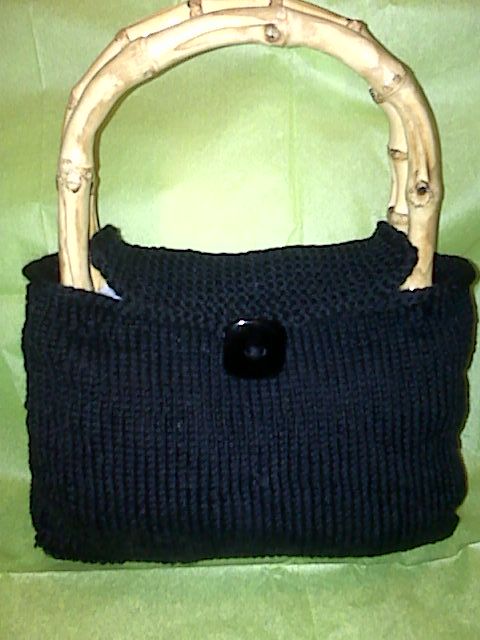 Hand Knit Stockinette & Garter Stitch Purse