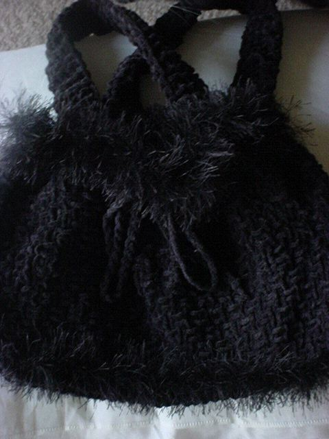 Ladies Knit Suede Purse